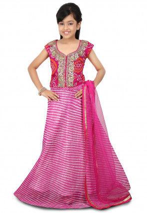 Lehariya Georgette A Line Lehenga in Pink
