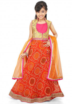 Bandhej Georgette A Line Lehenga in Orange