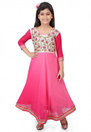 Embroidered Georgette A Line Suit in Pink Ombre
