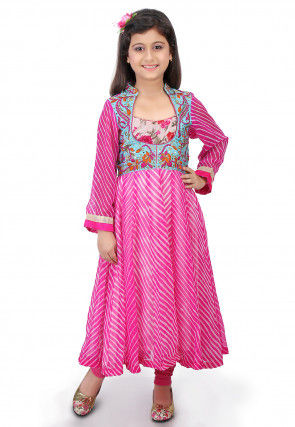 Printed Georgette Anarkali Jacket Style Suit in Pink and Blue