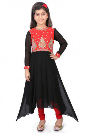 Embroidered Georgette Asymmetric Suit in Black and Red