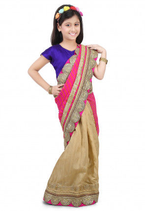 Leheriya Georgette Half N Half Saree in Pink and Beige