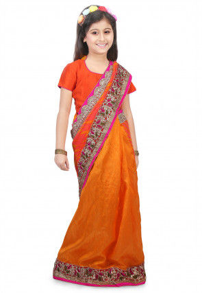 Leheriya Georgette Half N Half Saree in Peach and Mustard