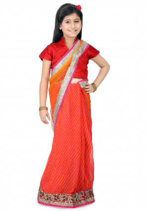Butterfly Pallu Net  Half N Half Saree in Orange and Peach