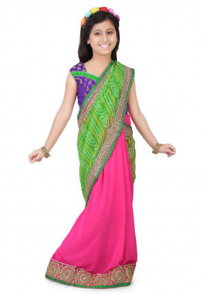 Bandhej Georgette Half N Half Saree in Green and Pink