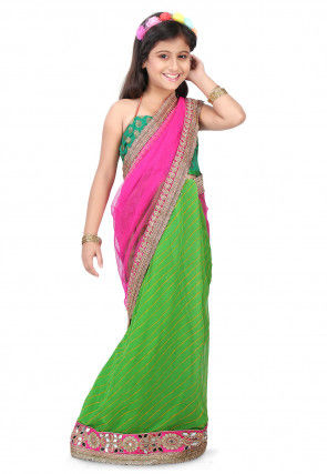Leheriya Net and Georgette Half N Half Saree in Pink