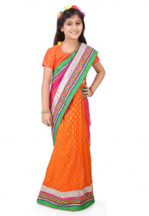 Embroidered Border Net Half N Half Saree in Pink and Orange