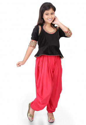 Embroidered Velvet Top with Dhoti Pant in Black