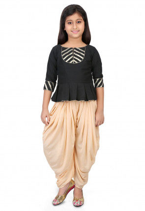 Embroidered Cotton Silk Top with Dhoti Pant in Black