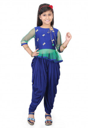 Embroidered Cotton Silk Top with Dhoti Pant in Blue