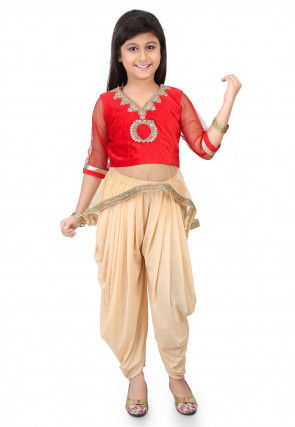 Embroidered Velvet and Net Top with Dhoti Pant in Red