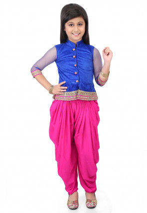 Plain Velvet Top with Dhoti Pant in Royal Blue