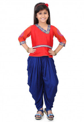 Plain Dupion Silk Top with Dhoti Pant in Red