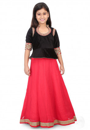 Embroidered Velvet Top with Skirt in Black