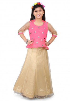 Embroidered Dupion Silk Top with Skirt in Pink