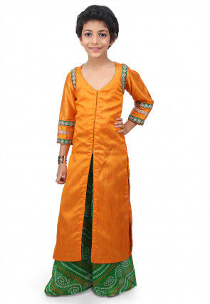 Plain Art Bhagalpuri Silk Jacket Style Long Kurta Set in Mustard