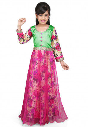 Printed Net, Dupion and Ghicha Silk Gown in Fuchsia and Green