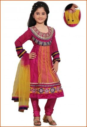 Embroidered Net Salwar Set in Fuchsia and Yellow