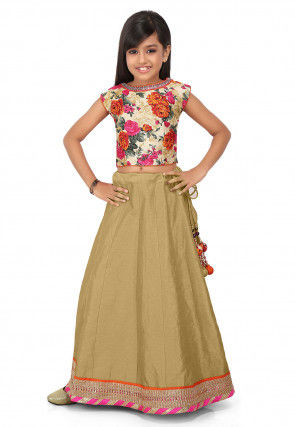 Patch Border Art Dupion Silk Circular Lehenga in Beige