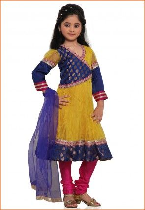 Embroidered Net Salwar Set in Yellow