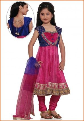 Embroidered Net Salwar Set in Pink
