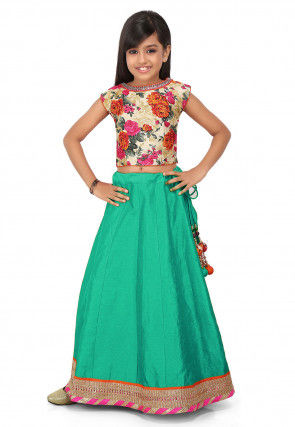 Patch Border Dupion Silk Circular Lehenga in Light Teal Green