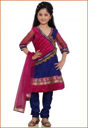 Embroidered Net Salwar Set in Royal Blue