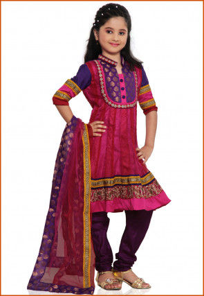 Embroidered Net Salwar Set in Fuchsia and Red