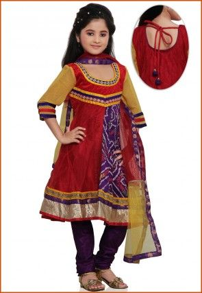 Printed Crepe and Net Salwar Set in Red and Purple