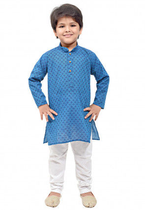 Printed Cotton Kurta Set in Teal Blue