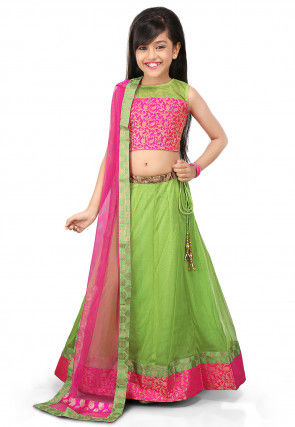 Plain Net Circular Lehenga in Light Green