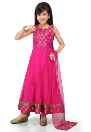 Woven Net and Art Silk Jacquard Abaya Style Suit in Fuchsia