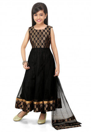 Woven Net Anarkali Suit in Black