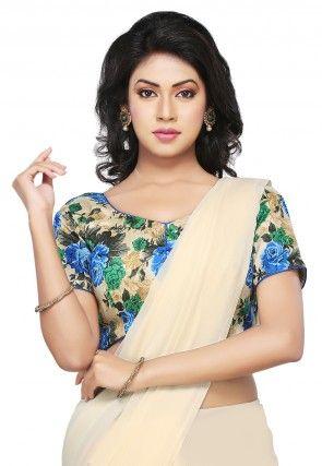 Floral Printed Bhagalpuri Silk Blouse in Beige