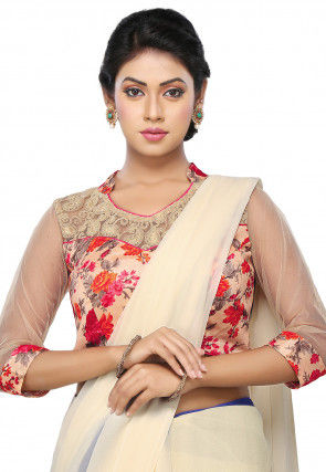 Printed Bhagalpuri Silk Blouse in Peach