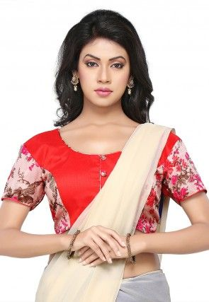 Floral Printed Bhagalpuri Silk Blouse in Red