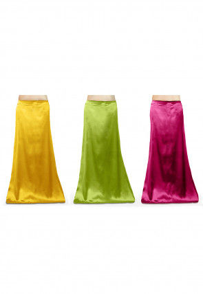 Satin Combo Set Petticoat in Yellow, Green and Fuchsia