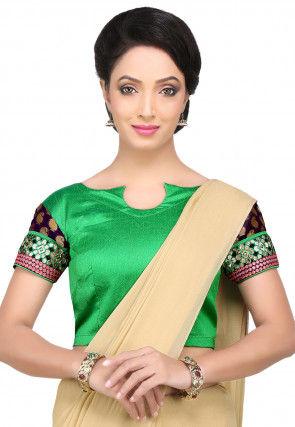 Patch Border Art Silk Blouse in Green