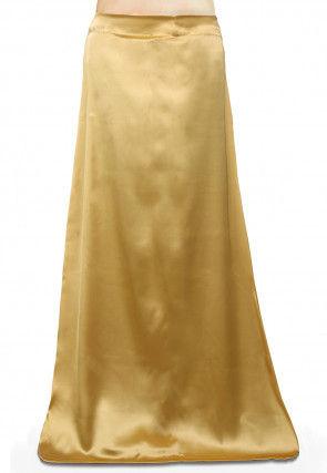 Plain Satin Readymade Petticoat in Beige