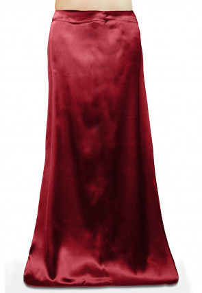 Plain Satin Readymade Petticoat in Maroon