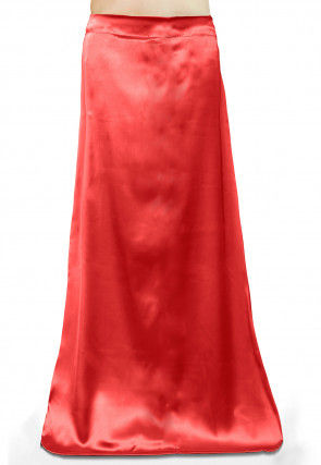 Plain Satin Readymade Petticoat in Red