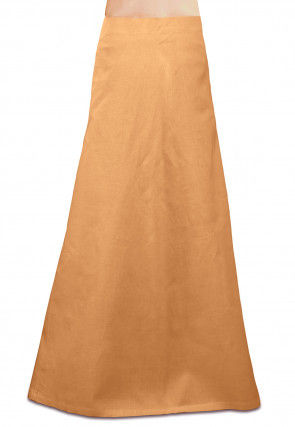 Plain Cotton Readymade Petticoat in Beige