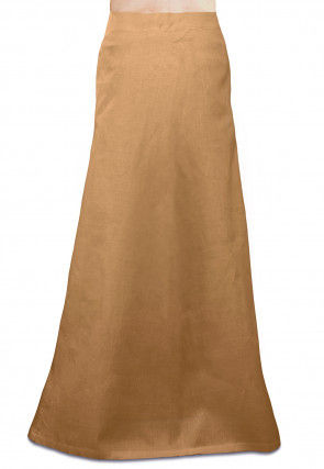 Plain Cotton Readymade Petticoat in Beige
