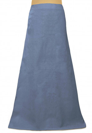 Plain Cotton Readymade Petticoat in Grey