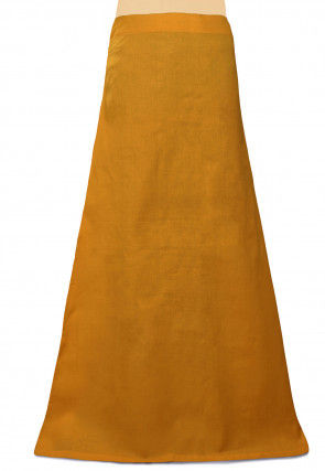 Plain Cotton Readymade Petticoat in Mustard
