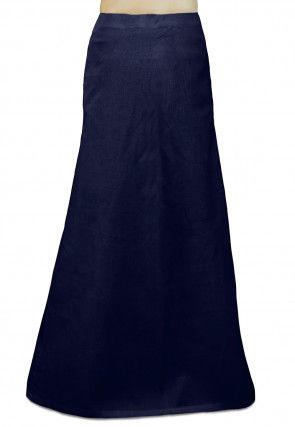 Plain Cotton Readymade Petticoat in Navy Blue