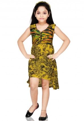 Printed Cotton Dresse in Mustard and Black