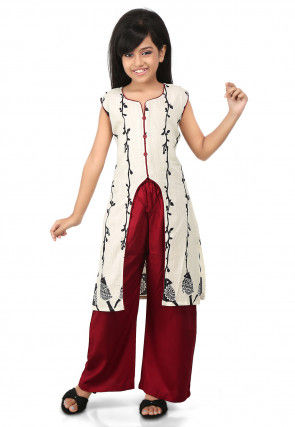 Printed Cotton Front Slit Suit in Off White