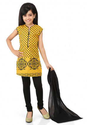 Printed Cotton Straight Cut Suit in Yellow