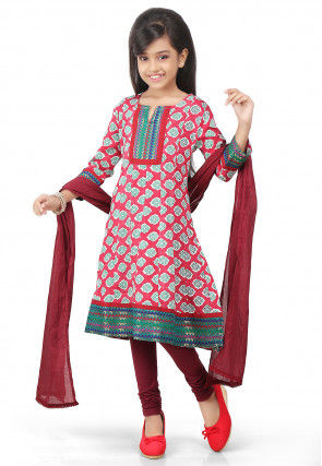 Printed Rayon Anarkali Suit in Coral
